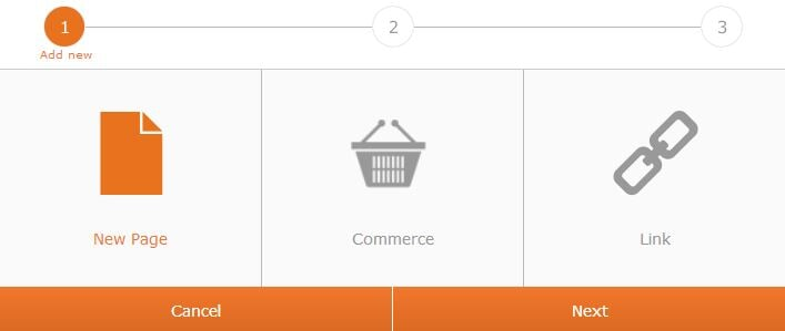 new page or commerce or link