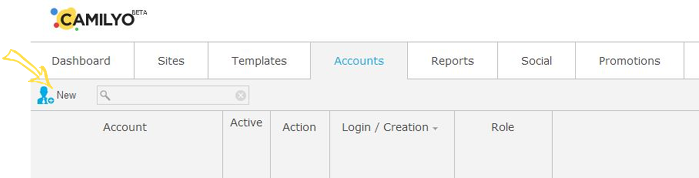 New account button