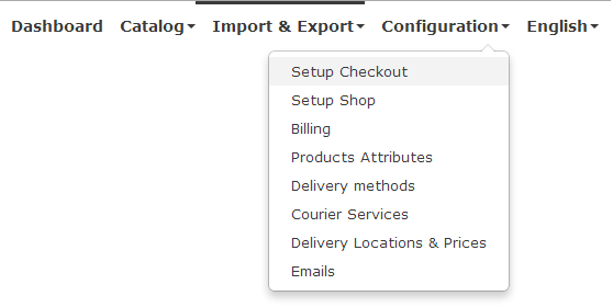 setup checkout menu