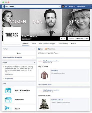 Post products on Facebook timeline