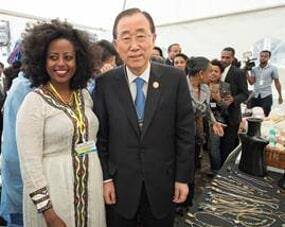 Secretary General Ban Ki-moon with Wro Bethelhem Berhanu, Owner of Entoto Beth Artisans