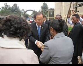Secretary General Ban Ki-moon greeting Wro Nigest Haile, Executive Director for CAWEE