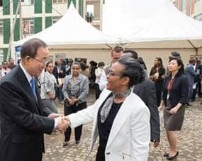 First Lady Roman Tesfaye greeting Secretary General Ban Ki-moon