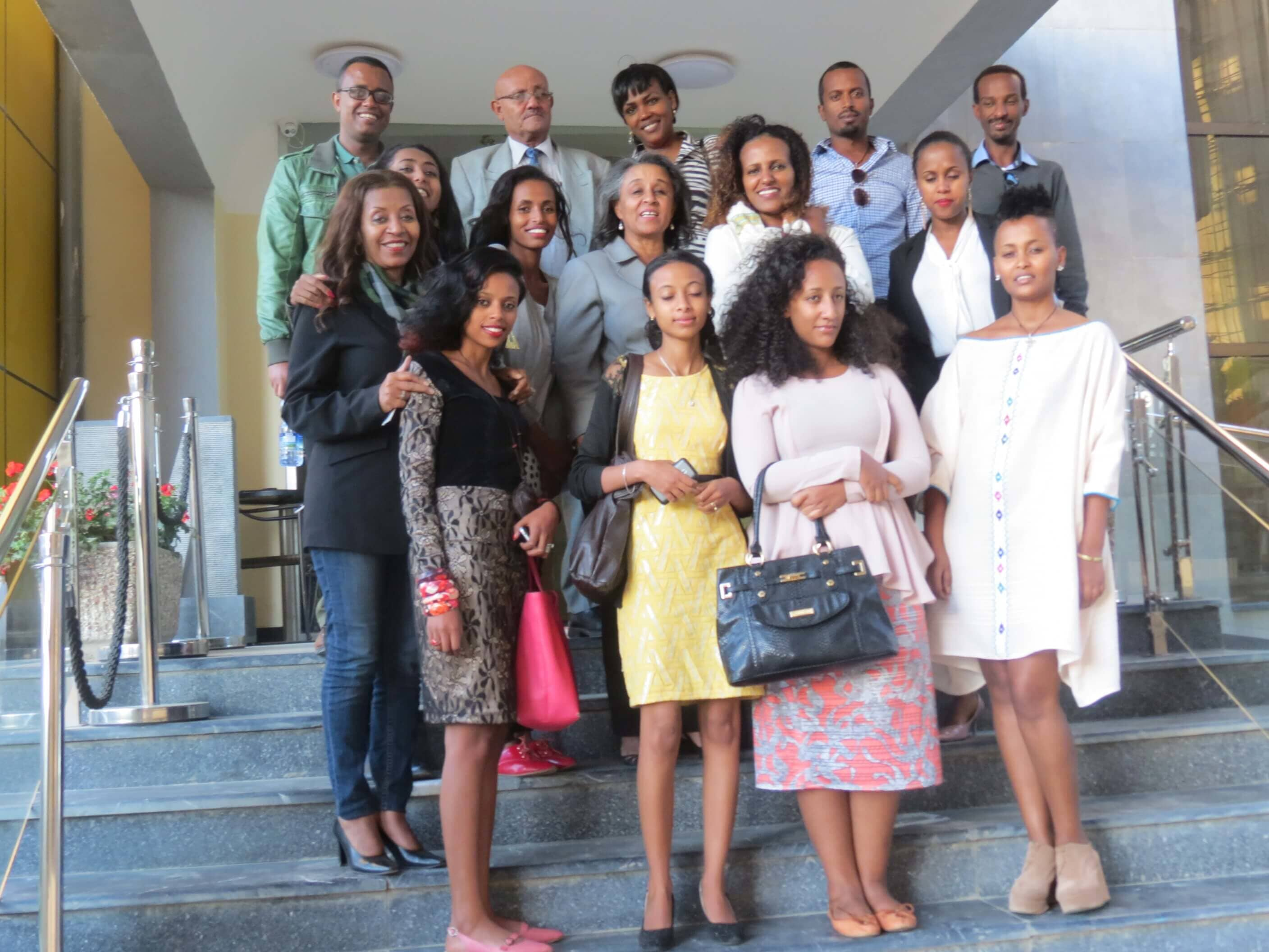 Group picture of training participants, Wro Nigest Haile, Executive Director of CAWEE and Ato Solomon Wolle, ACCESS! Trainer