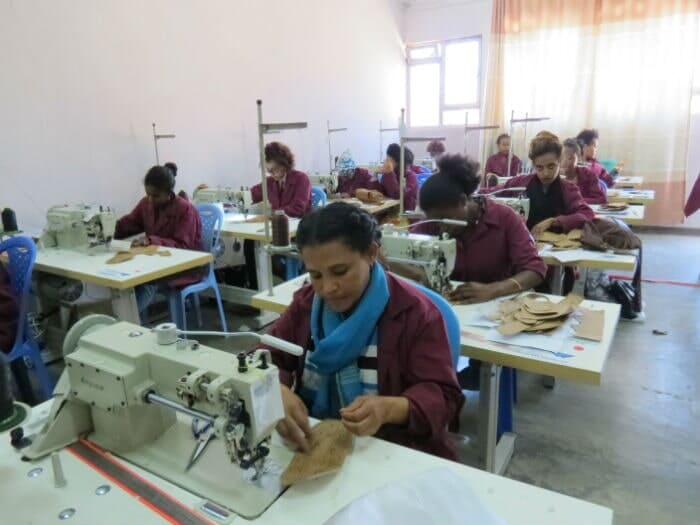 Trainees Practicing Sewing