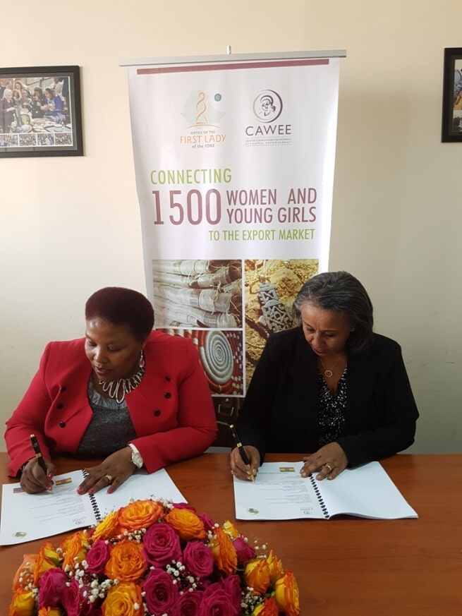 Mrs. Bea (Left) and Nigest (Right) during the Signing Ceremony