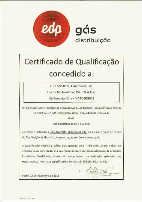 Certificado de qualificação de Gás