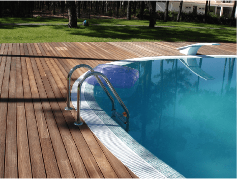 Outdoor flooring in wood