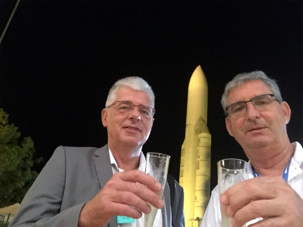 Arnon and Gerard celebrating the VENµS launch  1 Aug 17