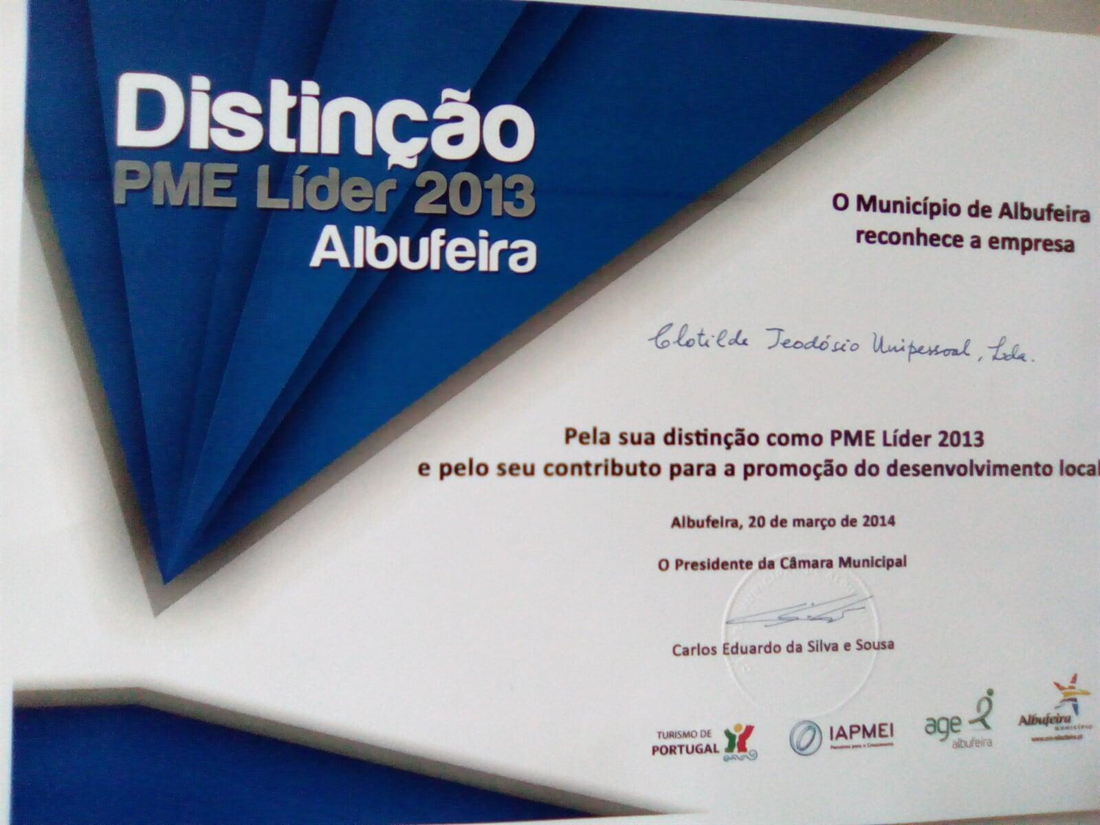 Diploma Distinção PME Líder - Albufeira