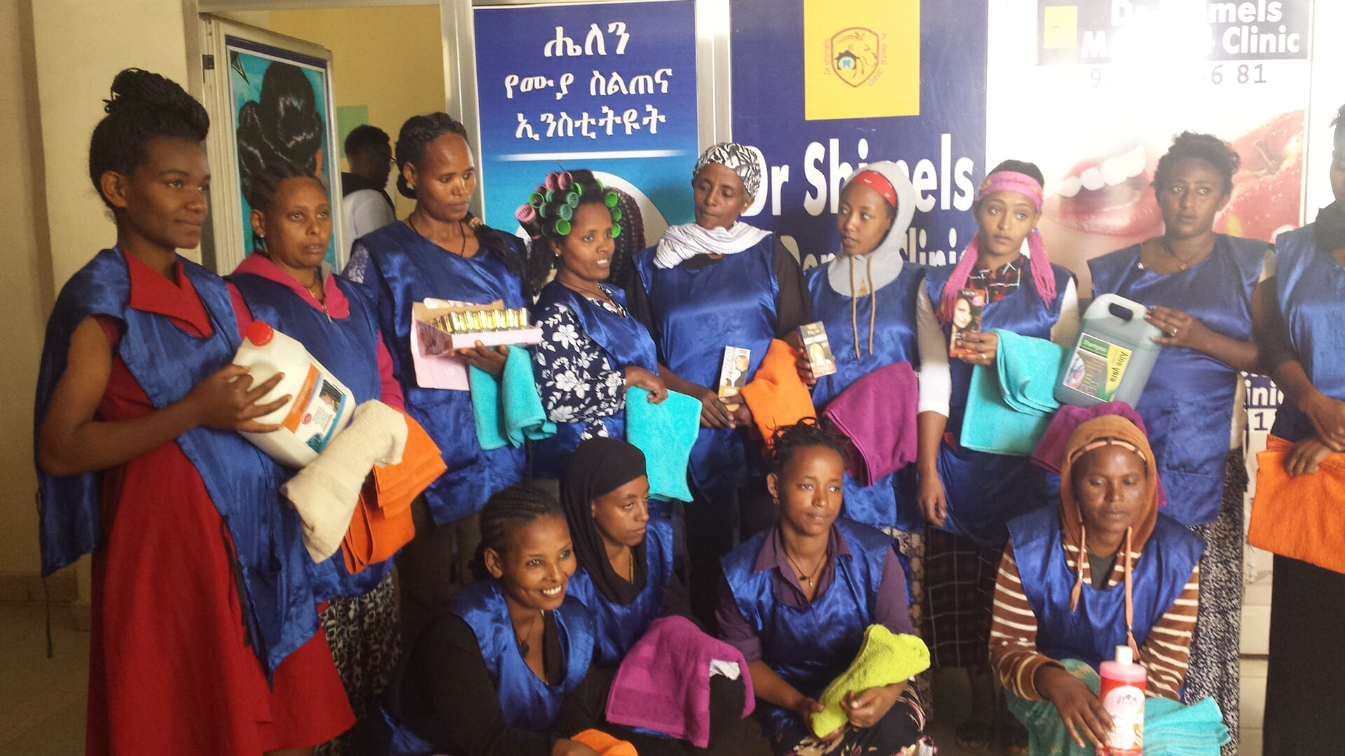 WE project beneficiaries hair dressing trainees